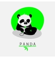 with cartoon panda sitting at his notebook vector image