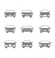 monochrome icons set with cars vector image
