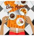 Girl and coffee top view vector image