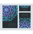 Business cards with neon ornaments vector image