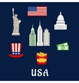 USA famous architecture and culture symbols vector image vector image