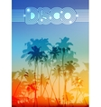 Palm silhouettes summer disco background vector image
