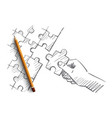 Hand drawn human arm completing puzzle vector image