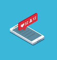like follow in smartphone vector image
