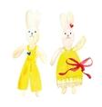 Watercolor toy bunnies vector image