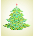 Xmas background with pixel christmas tree vector image
