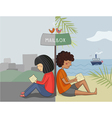 Multicultural girl and boy read mail vector image vector image