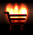 Burning shopping basket icon vector