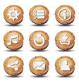 funny wood icons and buttons for ui game vector image