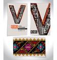 Ancient Business card design LETTER V vector image vector image