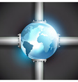 planet earth and pipes for fuel production vector image vector image