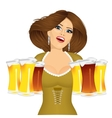 woman with six froth beer mugs vector image