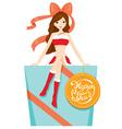 Woman In Santa Costume Sitting On Big Gift Box vector image vector image