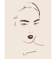beautiful woman face hand drawn vector image