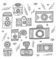 boho ethnic style vintage cameras set vector image