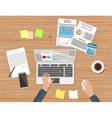 Businessman workplace wooden desk vector image
