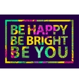 colorful tropical quote in square frame vector image