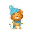 young stylish lion cartoon character wearing vector image