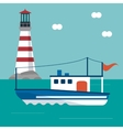boat lighthouse sea design vector image