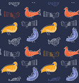 seamless pattern with birds on dark background vector image vector image
