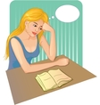 Woman reads a book and thinks about the story vector image