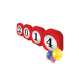dial 2014 with christmas balls part two vector image