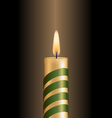 Candle with green spiral tape on brown vector image