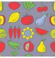 Cute fruits and vegetables seamless pattern vector image