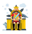 king on throne flat style colorful cartoon vector image