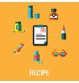 Poster with prescription and flat medical icons vector image