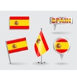Set of Spanish pin icon and map pointer flags vector image