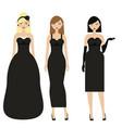 women in black dresses female night evening vector image