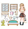 Woman and household objects vector image