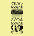 Bible verse with hand lettering man looks at the vector image