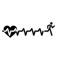Heartbeat make running man symbol stock vector image