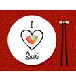I love sushi restaurant background vector image