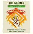 vintage tequila poster with sombrero hat vector image