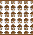 brown house with roof door and windows background vector image