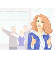 Beautiful young business woman with thumbs up vector image