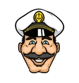 Cheerful moustached captain character in cap vector image