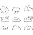 cute clouds outline kawaii vector image
