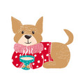 cute dog in warm winter sweater vector image