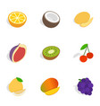 different fruits berries icons isometric 3d style vector image