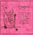Hand drawn Negroni cocktail vector image