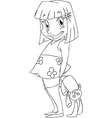 Little Girl With Rabbit Doll Coloring Page vector image