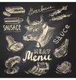 Meat chalkboard set vector image