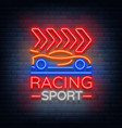 racing sports neon logo emblem pattern a glowing vector image