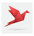 red bird paper craft flying in frame art isolated vector image
