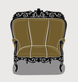an armchair with a eige upholstery and black vector image