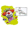 Clown Holding a Happy Birthday Card vector image